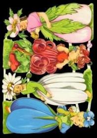 Glanzbilder mit Silber-Glimmer - Vier Blumenkinder