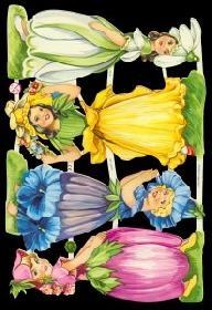 Glanzbilder - 4 Blumenmädchen