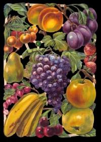 Glanzbilder mit Silber-Glimmer - Obstbogen mit Kirschen, Bananen, Äpfel, Pflaumen....