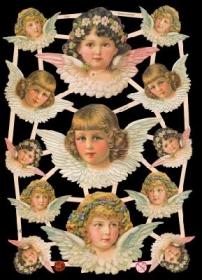Glanzbilder mit Silber-Glimmer - 3 große und 10 kleine Engelköpfe