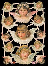 Glanzbilder mit Glimmer Engelköpfe m. Blumen i. Haar