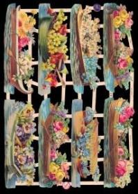 Glanzbilder mit Silber-Glimmer - Acht Blumenschiffe