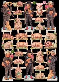 Glanzbilder - Schornsteinfeger und Schweine