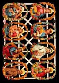Glanzbilder mit Gold-Glimmer - 8 Bilder mit Heiligen