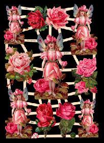 Glanzbilder - Elfen in Rosen