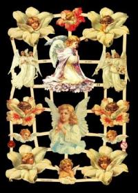 Glanzbilder mit Gold-Glimmer - Weiße Engel, unter anderem mit Blumen