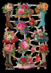 Glanzbilder - Schuhe mit Rosen