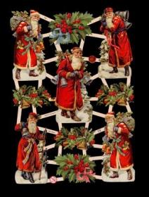 Glanzbilder mit Silber-Glimmer - 5 Weihnachtsmänner und 5 Nistelsträucher