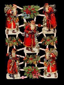 Glanzbilder - Weihnachtsmänner with Ilex