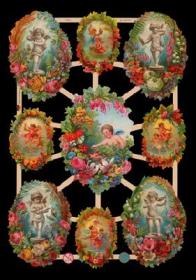 Glanzbilder mit Gold-Glimmer - 9 Bilder mit Engeln und Blumen