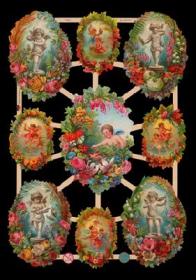 Glanzbilder mit Silber-Glimmer - 9 Bilder mit Engeln und Blumen