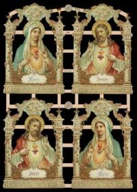 Glanzbilder mit Silber-Glimmer - 4 Bilder mit Maria uns Jesus