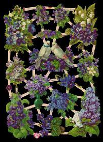 Glanzbilder - lila Blumenbogen