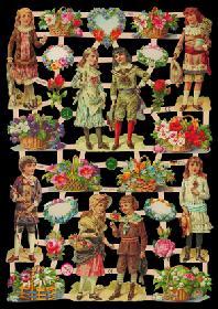 Glanzbilder mit Glimmer Kinder mit Blumen