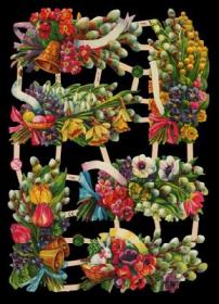Glanzbilder mit Silber-Glimmer - 6 Bilder mit Frühlingsblumen