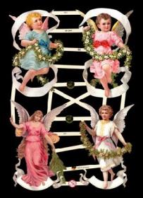 Glanzbilder mit Gold-Glimmer - 4 große bunte Engel