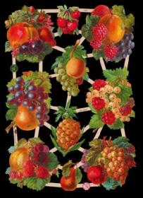 Glanzbilder mit Silber-Glimmer - Obst (Kirschen, Birnen, Ananas, Trauben, Beeren)