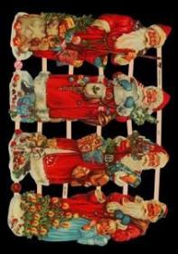 Glanzbilder mit Gold-Glimmer - 4 Weihnachtsmänner