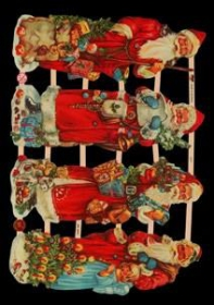 Glanzbilder mit Silber-Glimmer - 4 Weihnachtsmänner