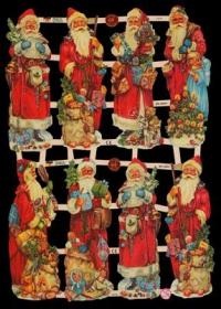 Glanzbilder mit Gold-Glimmer - 8 Weihnachtsmänner