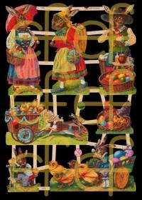 Glanzbilder mit Silber-Glimmer - 7 Osterhasen, Hennen und Küken