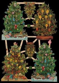 Glanzbilder mit Silber-Glimmer - 4 größere und 2 Weihnachtsbäume