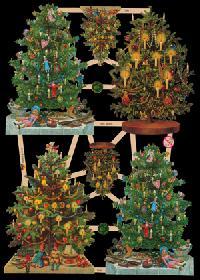 Glanzbilder - 4 Tannenbäume