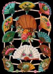 Glanzbilder mit Silber-Glimmer - 14 Fächer mit Blumen