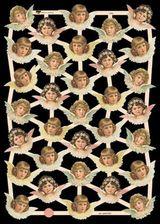 Glanzbilder mit Gold-Glimmer - 33 Engelköpfe