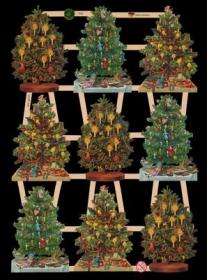 Glanzbilder mit Silber-Glimmer - 9 Weihnachtsbäume