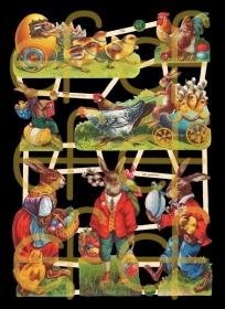Glanzbilder mit Silber-Glimmer - 7 Osterbilder mit Osterhase