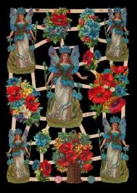 Glanzbilder mit Silber-Glimmer - 5 Blumenelfen und 8 Blumensträuße