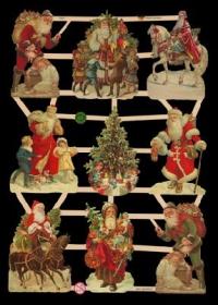 Glanzbilder mit Gold-Glimmer - 9 Bilder mit Weihnachtsmännern