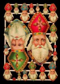 Glanzbilder mit Silber-Glimmer - 2 große und 16 kleine Bischof Nikolaus Köpfe