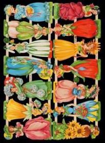 Glanzbilder mit Silber-Glimmer - 14 Blumenelfen