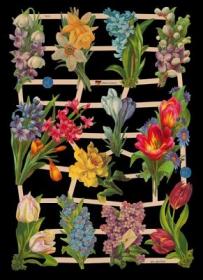 Glanzbilder mit Silber-Glimmer - 12 Blumensträuße