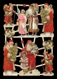Glanzbilder mit Silber-Glimmer - 6 Weihnachtsmänner