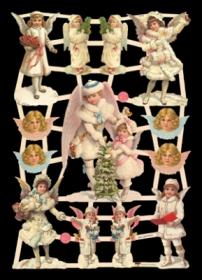 Glanzbilder mit Silber-Glimmer - 9 Schneeengel und 4 Engelköpfe