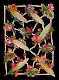 Glanzbilder mit Silber-Glimmer - 12 Federn mit Blumen