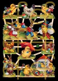 Glanzbilder mit Silber-Glimmer - 10 Motive mit Küken, Hennen und Osterhasen