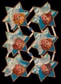 Glanzbilder mit Silber-Glimmer - 6 Sterne mit Engel