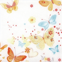 Servietten 25x25 cm - Lovely Butterflies yellow/orange