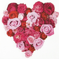 Servietten 33x33 cm - Herz der Rosen