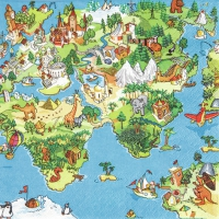 Servietten 33x33 cm - World for Kids