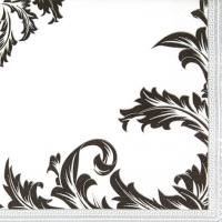 Servietten 33x33 cm - Luxuriöses Schwarz/Silber