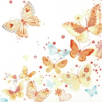 Servietten 33x33 cm - Lovely Butterflies yellow/orange