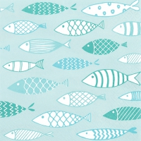 Servietten 33x33 cm - Fish on Tour mint