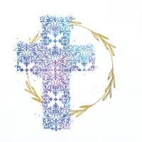 Servietten 33x33 cm - Kreuz blau
