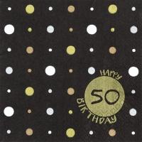 Servietten 33x33 cm - Happy Birthday 50 gold