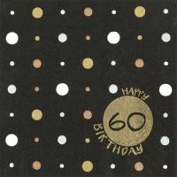 Servietten 33x33 cm - Happy Birthday 60 gold